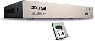 ZOSI 1080N/720P 8 Channels 4-in-1 DVR HD TVI CCTV DVR Security System Network Motion Detection H.264 8CH Digital Video Recorder 1TB Hard Drive for 720P,1080P Security Camera System
