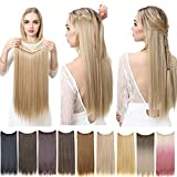 Halo Hair Extensions Blond Straight Long Synthetic Hairpieces for Women 22 Inch 4.2 Oz Secret Wire Headband Heat Resistant Fiber No Clip SARLA(M02&22/613)