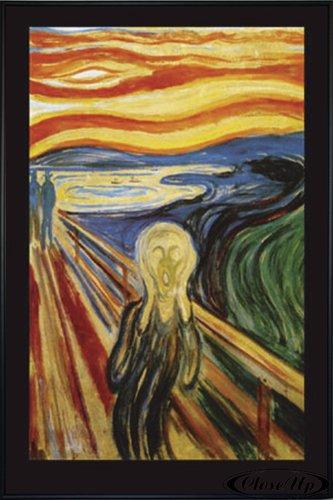 Close Up Edvard Munch The Scream Poster Der Schrei (93x62 cm) gerahmt in: Rahmen schwarz