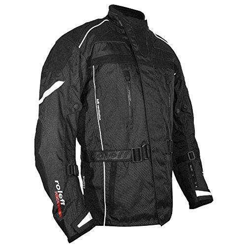 Schwarze Motorradjacke mit echten Rindslederapplikationen, Protektoren, Belüftungssystem, Klimamembrane und herausnehmbarem Thermofutter