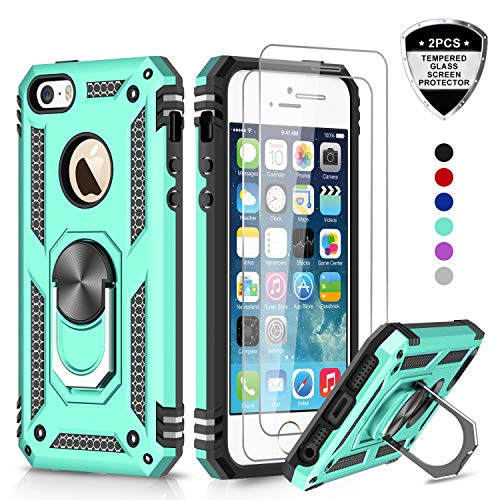 LeYi iPhone se Case, iPhone 5s Case, iPhone 5 Case, Military Grade Armor Full-Body Hybrid Dual Layer Protective Phone Cover Case with 360 Degree Rotating Holder Kickstand for iPhone 5/5s/se JSFS Mint
