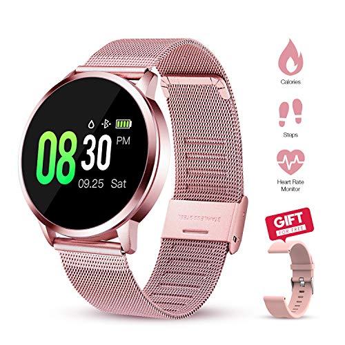 GOKOO Smartwatch Für Damen Frauen mit pulsmesser Fitness Uhr IP67 wasserdichte Fitness Tracker Schrittzähler Kalorienzähler Sportuhr (Rosa)