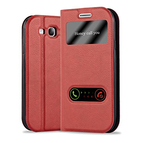 Cadorabo Funda Libro para Samsung Galaxy S3 / S3 Neo en Rojo AZRAFÁN - Cubierta Proteccíon con Cierre Magnético, Función de Suporte y 2 Ventanas- Etui Case Cover Carcasa