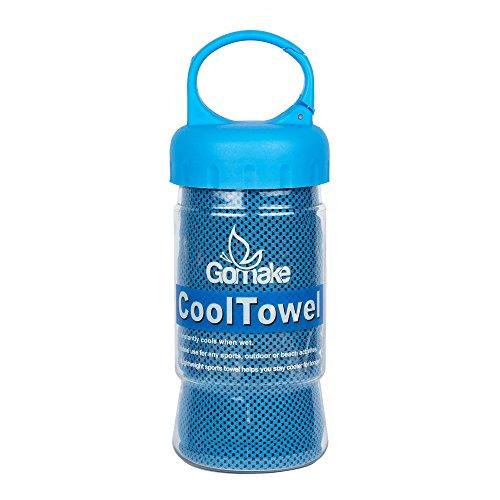 Gomake Kühl-Handtuch, 120x 30cm, doppelseitig, weiches Polyester für empfindliche Haut. Super saugfähige Mikrofasern absorbieren Schweiß und halten Sie für Stunden Kühl., blau, small 120cm x 30cm