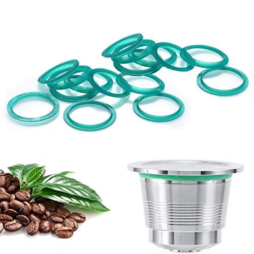CHENKEE Dichtungsfilter Ersatzring 40 Stück Silikon wiederverwendbare Kaffeekapseln Gummi O-Ring Dichtung Dichtung Reparatur Dichtung grün Farbe für nachfüllbare wiederverwendbare Kaffeekapseln Pods