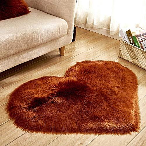 DFDFH Shaggy Alfombra de lana sintética esponjosa esteras de piel de oveja artificial peluda esterilla amor corazón alfombras no pelusa alfombra para sala de estar 30 x 30/40 x 50 cm
