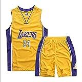 TYTF Camiseta de baloncesto sin mangas para niño, chaleco de malla, uniforme, camiseta y pantalones cortos, para verano, juego de 1-15 años (amarillo, XL (150-155 cm)