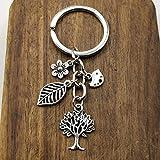 TIANDI 1 Pieza de Plata Antigua árbol pájaro Flor llaveros Hoja Colgante para Bolso Llavero para Mujer