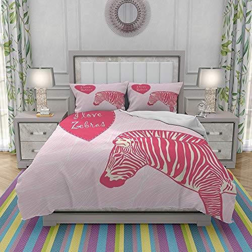 MOONLIT Duvet Cover Set-Bedding,I Love Zebras in Heart Romantic Wilderness Nature Savannah Fashion,Quilt Cover Bedlinen-Microfibre 140x200cm with 2 Pillowcase 50x80cm