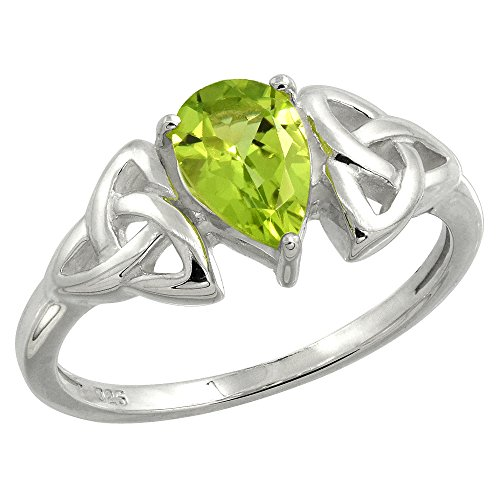 Sterling Silver Celtic Knot Trinity Ring with Natural Peridot, 5/16 inch Wide, Size 7