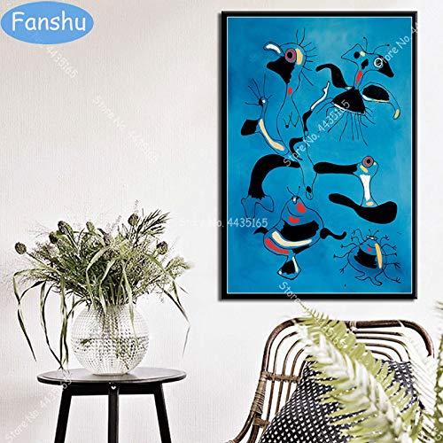 Fengdp New Joan Miro Modernes Poster Surrealismus Abstrakte Retro Wandkunst Leinwand Malerei Poster und Drucke für Raum dekorative Wohnkultur 50 x 70 cm Kein Rahmen
