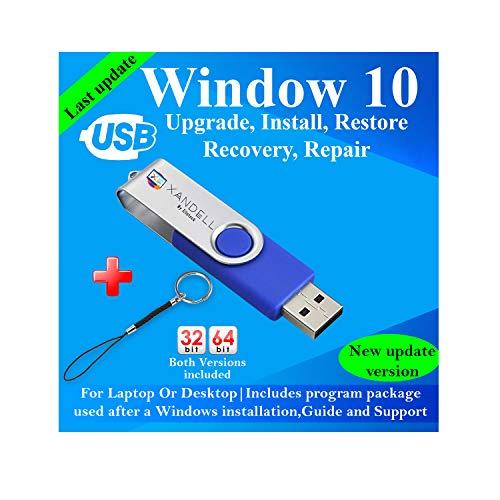 Compatible Windows 10 all Version Install To Factory Upgrade Recovery Repair Reinstall Clean Reboot Restore Fix Update Bootable   32/64 Bit & Antivirus, Drivers,16 GB usb   Desktop or Laptop + Lanyard