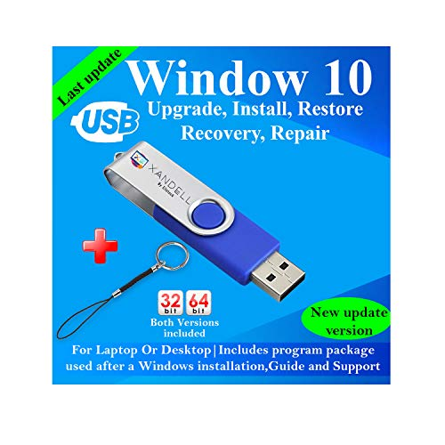 Compatible Windows 10 all Version Install To Factory Upgrade Recovery Repair Reinstall Clean Reboot Restore Fix Update Bootable | 32/64 Bit & Antivirus, Drivers,16 GB usb | Desktop or Laptop + Lanyard