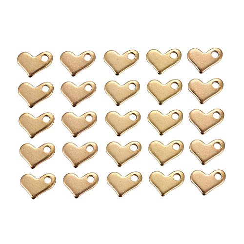DanLingJewelry 304 roestvrij staal blanco stempel Tag hart bedeltjes glad oppervlak hangers voor Armband Oorbel Ketting Hanger bedeltjes (gouden kleur-200pcs, 6.5 x 8.5 x1mm, gat: 1.5mm)