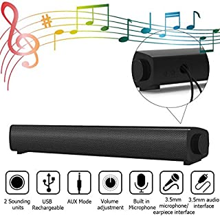 Computer Speakers, 15.7Inch USB Powered 6W Drivers Stereo Wired Sound Bar with Built in Microphone, 3.5mm Aux-in Connection for Windows, PCs, Desktop, Smartphone, Tablets, Laptop, Projector- Black