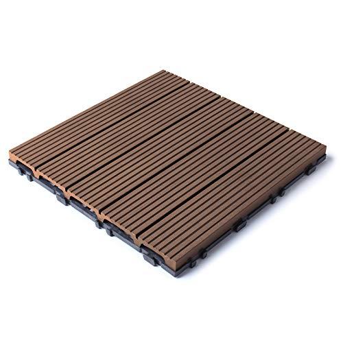 HORI - Baldosas para terraza WPC I Klick de plástico con aspecto de madera I Modelo: WPC marrón 5 imitación de madera
