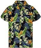 Funky Camisa Hawaiana, Manga Corta, Strelitzie, Negro, XS