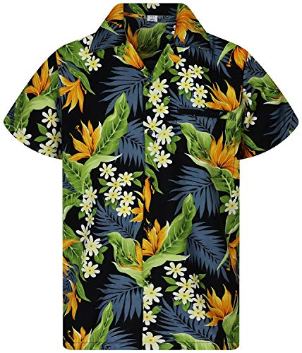 Funky Camisa Hawaiana, Manga Corta, Strelitzie, Negro, L