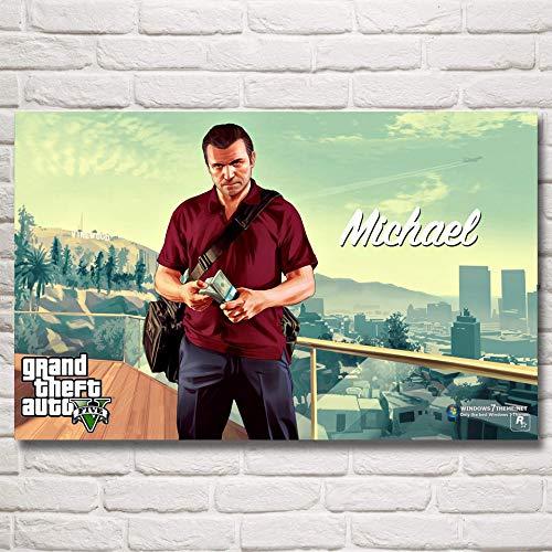baodanla Sin Marco Grand Theft Auto V GTA 5 Juego Poste e Impresiones Arte Seda ngs Decoración de la Pared Decoración del Dormitorio Imagen Living30x40cm