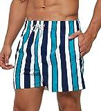 SILKWORLD Men's Swim Trunks Slim Fit Quick Dry Athletic Swimwear Bathing Suits with Mesh Lining (Cyan-Blue Vertical Stripes, X-Large)