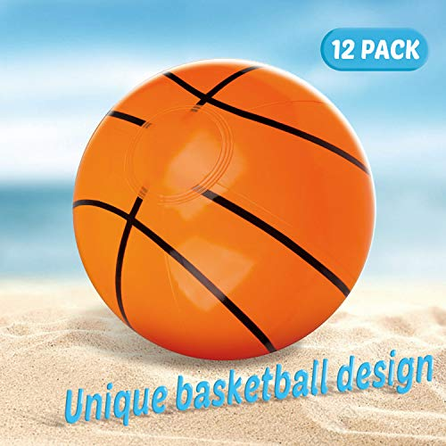D-FantiX Inflatable Beach Balls for Pool Beach Basketball Themed Birthday Party Favor Beach Game Summer Toy Gifts for Kids 8 to 12 inch from Inflated to Deflated 12 Pack