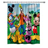 Elite ETSPY Mickey Mouse Shower Curtains with Donald Duck, Polyester Fabric Decor Shower Curtain for Bathroom, Bath Accessries Set with Hooks, 71X 71 Inches