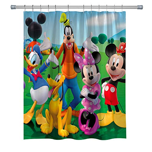 Mickey Mouse Shower Curtains with Donald Duck, Polyester Fabric Decor Shower Curtain for Bathroom, Bath Accessries Set with Hooks, 71X 71 Inches