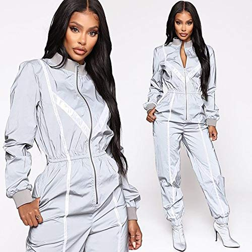 Yzibei Tempo Libero winterjas, hip hop helder, sportief, reflecterend, met capuchon voor Le vrouwen in Secution Safety Jacket Vrouwen Reflective Outdoor Sportswear