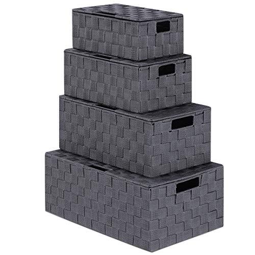 LEAVINSKY Woven Storage Basket, Woven Storage Box, Nylon Woven Box Basket with Lid, Grey Woven Basket Stackable Storage Basket, Woven Strap Organizer, 4 Pack Grey