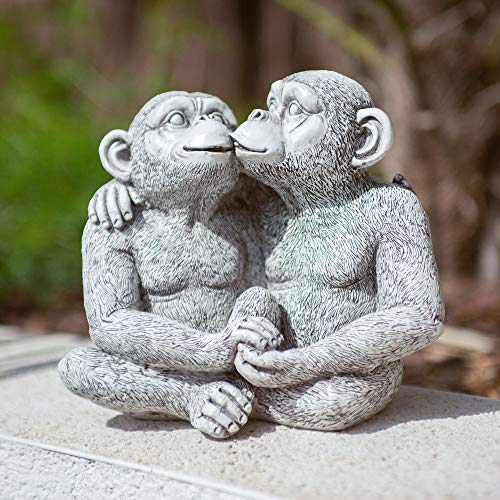 garden mile Stone Effect Kissing Monkeys Garden Statue | Smooching Chimp Pond Ornament | Resin Sculptures for the Garden | High Detail Sitting Monkeys Patio, Pond, and Lawn Ornaments