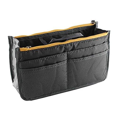 Handtasche Organizer Multifunktions Handtaschenordner Trading Tasche Kosmetik Doppel-Reißverschluss Multifunktions Tasche Hopper Ordnung Reise Make Up Koffer Tragbar 13 Taschen Bag(Wein Rot) (Gray)