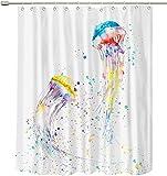 Duschvorhang Cartoon Meerestiere Bunte Quallen Duschvorhang Spaß Kinder Badezimmer Badewanne Blackout wasserdichte Stoffvorhänge mit Haken