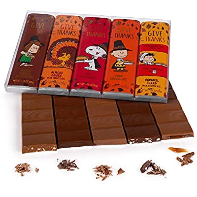 Peanuts Thanksgiving Chocolate Gift Box | 5 Bars Variety Pack of Snoopy Gourmet Rich Milk & Dark Belgian Chocolate | Charlie Brown Gifts for Kids | Family & Friends Candy Treats Thank You Food Baskets