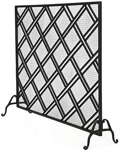 Kamin Funkenschutz Großer Flach Kamin Screens Mesh, Schmiedeeisen Kamin Zaun Funkenschutz Mesh for Baby-Sicherheit, Rhombus Lattice Design, schwarz (Größe: 110 × 26 × 88.5cm) ( Size : 110×26×88.5cm )