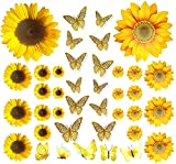 39PCS Sunflower Wall Stickers & 3D Gold Butterfly Wall Stickers,Peel and Stick Yellow Sunflower Wall Decor,Removable Waterproof Wall Decals for Living Room Bathroom Bedroom Decoration