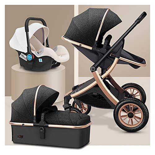 MESURE Passeggino Combinato Buggy 3 in 1 Pram Passeggino Carrello Pieghevole Luxury Baby Ombrello Passeggino Anti-Shock Springs Alto Vista Pram Pram Passeggino con Baby Basket per Neonato e Bambino