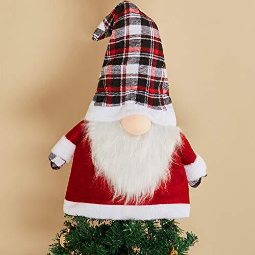 Christmas Tree Topper Gnome Large Swedish Tomte Gnome 25 Inch Christmas Ornaments Gnome for Christmas Tree Decoration Home Party Supplies (Red, Black and White Plaid)