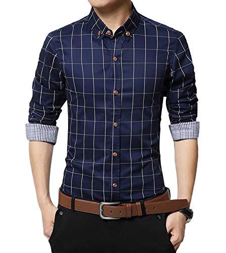Kuson Herren Hemd Karohemd Kariert Hemden Freizeit Bügelleicht Baumwolle Button-down Navyblau L