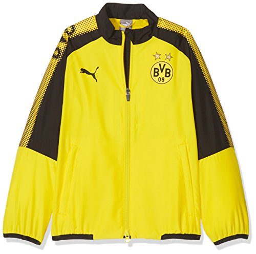 PUMA Kinder BVB Leisure JKT Without Sponsor Logo with 2 Side Pockets wit Jacke, Cyber Yellow Black, 164