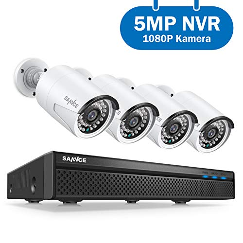 SANNCE Überwachungskamera Set,POE Überwachungskamera System 5MP 8CH NVR+4 * 1080P Wasserdicht Kamera mit Smart IR LEDs,Bewegungserkennung,APP Alarm,Nachtsicht bis zu 30 Meter