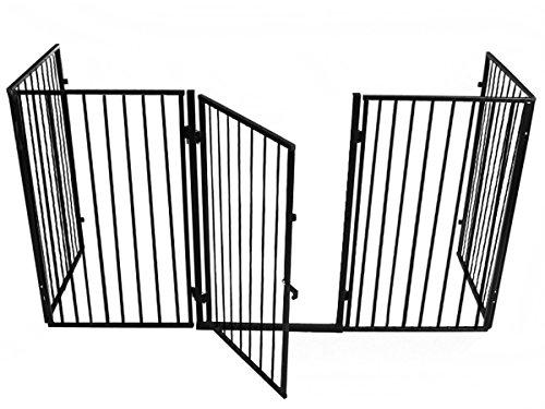 ISO TRADE Kaminschutz mit Tür aus Metall Kinderschutzgitter Ofenschutzgitter Absperrgitter 2961