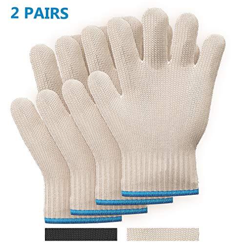 Killer#039s Instinct Outdoors 2 Pairs Heat Resistant Gloves Oven Gloves Heat Resistant with Fingers Oven Mitts Kitchen Pot Holders Cotton Gloves Kitchen Gloves Double Oven Mitt Set