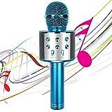 Micro Karaoké sans Fil Bluetooth, 4-en-1 Portable Microphone Karaoke Haut-Parleur&Enregistreur pour Enfants&Ami&Famille KTV/Fête de Vacancesraoké, Compatible avec Android/iOS/PC Smartphone