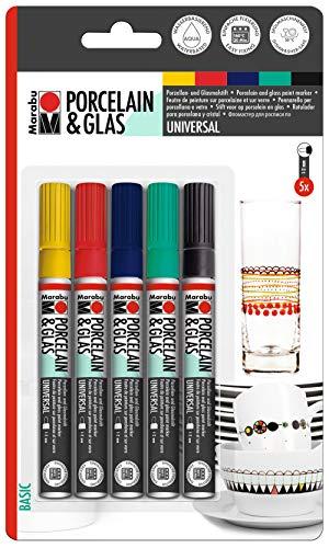 Marabu 0123000000080 - Porcelain & Glas Painter, Basic, Set mit 5 Farben, hochglänzender Porzellan- und Glasmalstift auf Wasserbasis, spülmaschinenfest nach Einbrennen, Spitze 1 - 2 mm