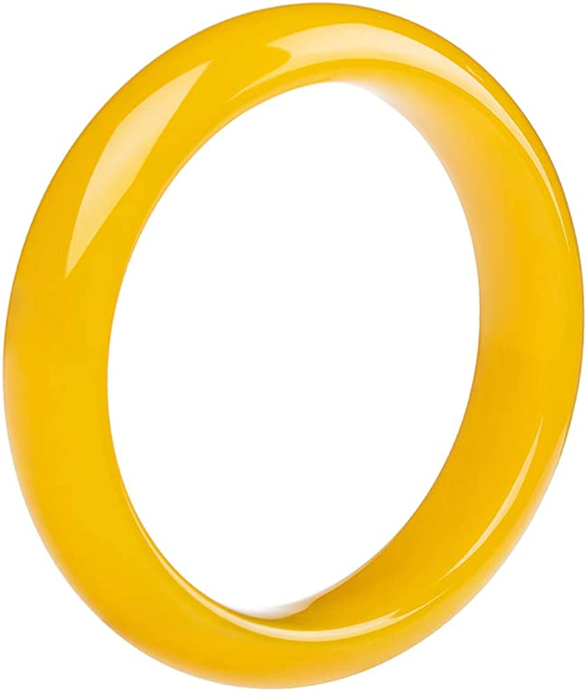 QJBMEI Natural Yellow Jade Bangle Bracelet for Women, Chinese Style Bangle, H05-15