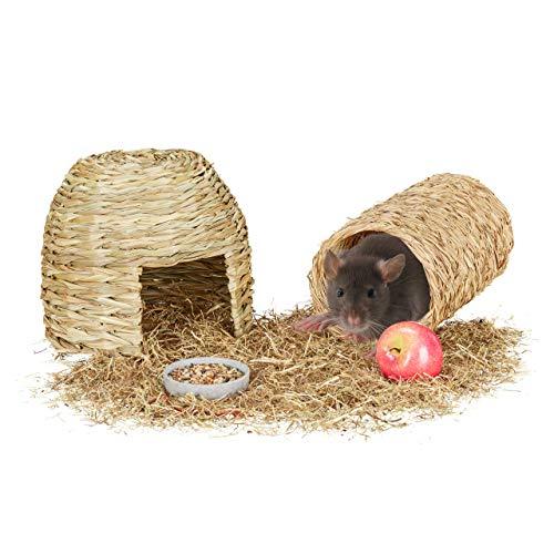 Relaxdays - Juego de 2 Piezas para Animales pequeños, casa de Hierba y túnel, Objeto de Jaula, roedor, Naturaleza