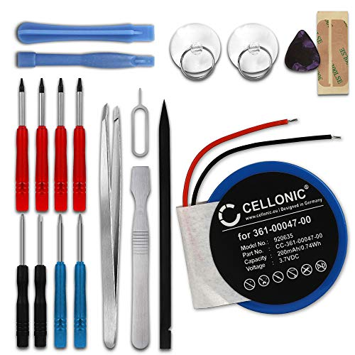 CELLONIC Batería de Repuesto 361-00047-00 361-00064-00 Compatible con smartwatch Garmin Forerunner 210, 110, S1 / Approach S4, S3, S1, 200mAh + Juego de Destornilladores Accu Battery Pack
