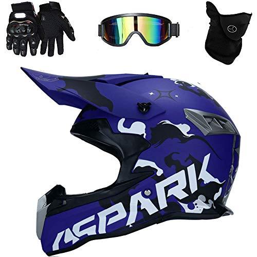 Casco de Motocross Endurance ATV Fibra de Carbono Casco de la certificación D. O. T, Incluyendo Gafas/Guantes/máscara,C,L(59~60cm)
