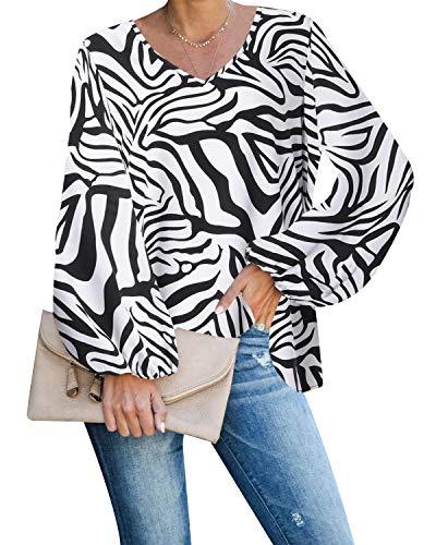 Style Dome Bluse Damen Elegant Chiffon Zebra Langarmshirt Sexy V-Ausschnitt Oberteile Loose Tunika Weiß-E03612 XL