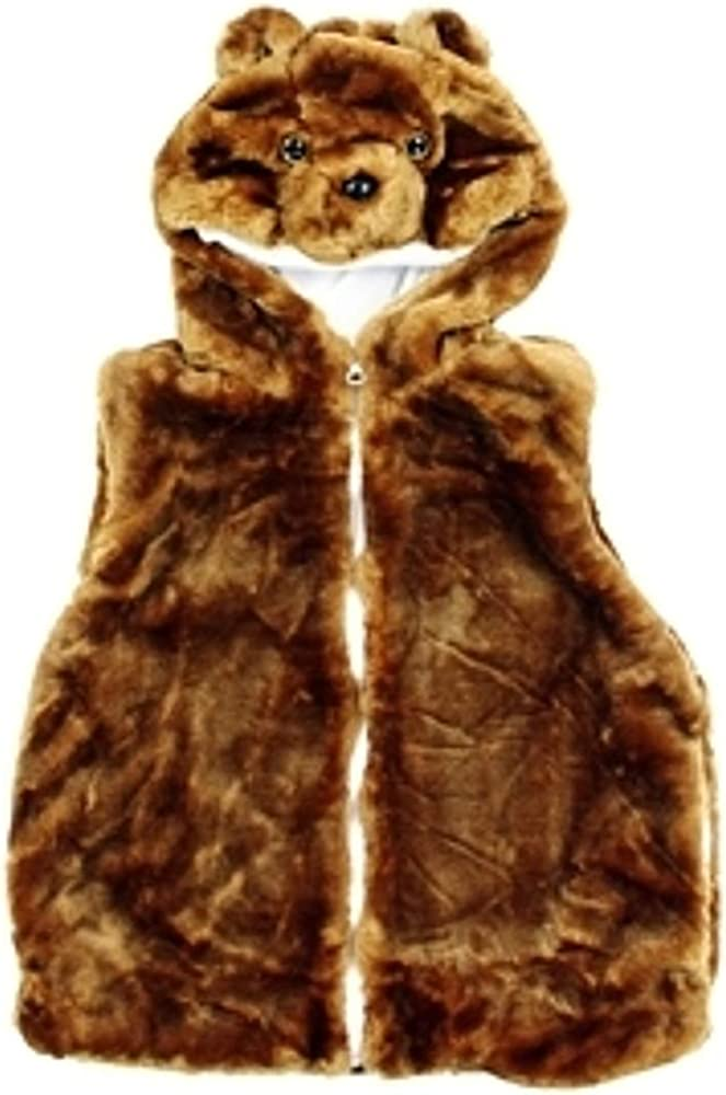 Girls Plush Faux Fur Animal Vest - Bear Size Small 5-8 Years Brown